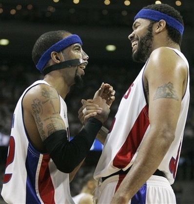 Hamilton and Wallace congratulate one another.jpg