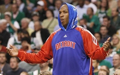 Chauncey Billups pleads for a call from the bench.jpg