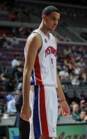 Austin Daye looks on during his first Pistons preaseason game.JPG