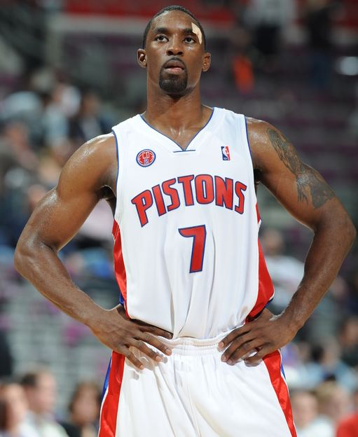 Ben Gordon looks on in a Pistons home jersey.JPG